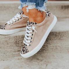 Frauen Kunstleder Flascher Absatz Flache Schuhe Round Toe Espadrille mit Zuschnüren Spleißfarbe Schuhe