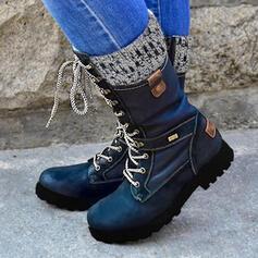 Frauen PU Niederiger Absatz Stiefel-Wadenlang Martin Stiefel mit Reißverschluss Zuschnüren Schuhe