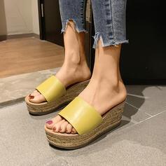 Frauen Nylon Keil Absatz Sandalen Plateauschuh Keile Peep Toe Pantoffel mit Perle Schuhe