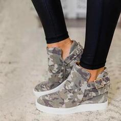 Frauen Leinwand Flascher Absatz Flache Schuhe Stiefel Stiefelette mit Schnalle Schuhe