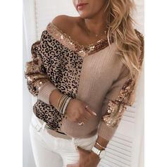 Geblockte Farben Leopard Pailletten V-Ausschnitt Freizeit Pullover