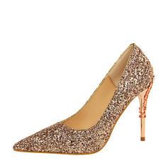 Frauen Funkelnde Glitzer Stöckel Absatz Absatzschuhe Geschlossene Zehe mit Funkelnde Glitzer Schmuckabsatz Schuhe