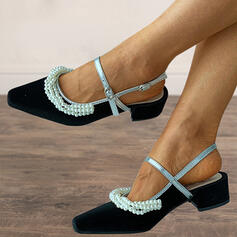 Women's Microfiber Chunky Heel Pumps Square Toe Heels With Imitation Pearl shoes