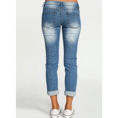 Taschen Shirred Lange Einfarbig Baumwollstoff Hosen