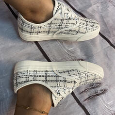 Frauen Stoff Flascher Absatz Flache Schuhe Low Top mit Zuschnüren Schuhe