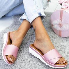 Frauen PU Keil Absatz Sandalen Keile Peep Toe Pantoffel mit Einfarbig Schuhe