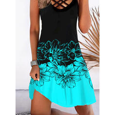 Print/Floral/Color Block Sleeveless Shift Knee Length Vacation Dresses
