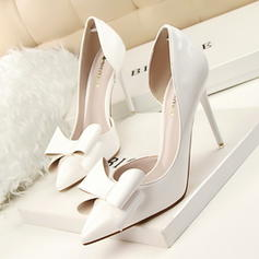 Frauen Lackleder Stöckel Absatz Absatzschuhe Geschlossene Zehe mit Bowknot Schuhe