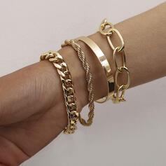 Modisch Jahrgang Einfache Geschichtet Legierung mit Vergoldet Frauen Damen Mädchens Armbänder 4 STÜCK