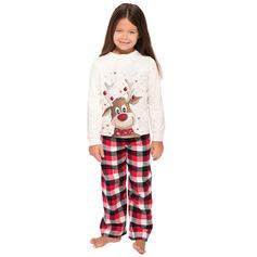 Deer Plaid Cartoon Family Matching Christmas Pajamas