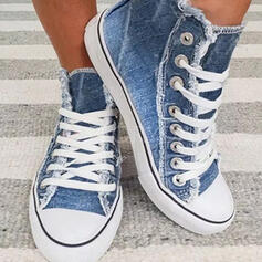 Frauen Leinwand Flascher Absatz Flache Schuhe Low Top Round Toe Espadrille mit Zuschnüren Schuhe