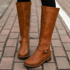 Women's PU Chunky Heel Riding Boots Round Toe With Buckle Zipper Solid Color shoes