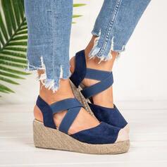 Frauen Veloursleder Stämmiger Absatz Sandalen Keile Peep Toe mit Satin Schnürsenkel Einfarbig Schuhe