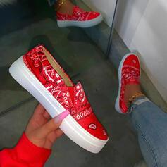 Frauen PU Round Toe Slip On Sneakers mit Gummiband Schuhe