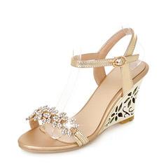 Frauen PU Keil Absatz Sandalen Absatzschuhe Keile Peep Toe Slingpumps mit Strass Schuhe