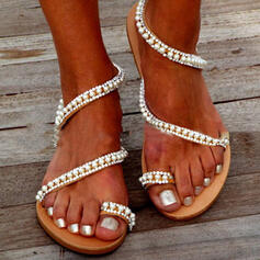 Women's PVC Flat Heel Sandals Flats Toe Ring With Rhinestone Imitation Pearl Hollow-out shoes