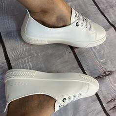 Frauen PU Flascher Absatz Flache Schuhe Low Top mit Zuschnüren Schuhe