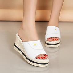 Frauen PU Keil Absatz Sandalen Plateauschuh Keile Peep Toe Pantoffel Heels mit Einfarbig Schuhe