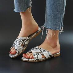 Frauen PVC Flascher Absatz Sandalen Peep Toe Pantoffel mit Tierdruckmuster Hohl-out Schuhe