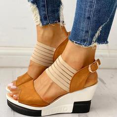 Frauen PU Keil Absatz Sandalen mit Schnalle Schuhe