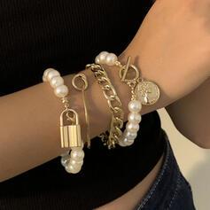 Modisch Sexy Jahrgang Klassische Art Legierung Faux-Perlen mit Nachahmungen von Perlen Frauen Damen Armbänder 4 STÜCK