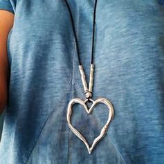 Jahrgang Herzförmige Boho Legierung Flechtschnur Halsketten