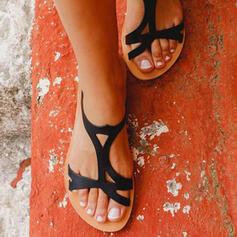 Frauen PU Flascher Absatz Sandalen Pantoffel mit Hohl-out Schuhe