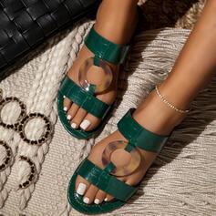 Frauen PU Flascher Absatz Sandalen Peep Toe Pantoffel mit Hohl-out Schuhe