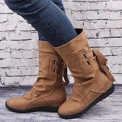 Women's PU Flat Heel Platform Boots With Zipper Lace-up Solid Color shoes