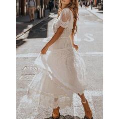Spitze/Einfarbig Kurze Ärmel A-Linien Skater Elegant Maxi Kleider
