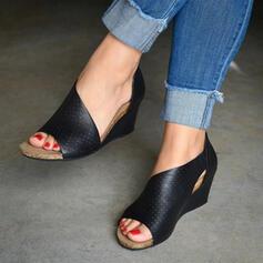 Frauen PU Keil Absatz Sandalen Keile Peep Toe Heels mit Reißverschluss Hohl-out Schuhe