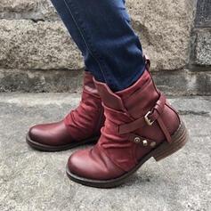 Frauen Kunstleder Stämmiger Absatz Stiefel Stiefelette Round Toe mit Niete Schnalle Schuhe