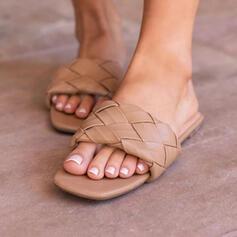 Frauen PU Flascher Absatz Sandalen Flache Schuhe Peep Toe Pantoffel mit Hohl-out Gestreift Schuhe