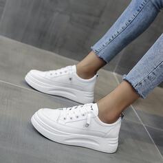 Frauen PU Flascher Absatz Flache Schuhe Round Toe mit Zuschnüren Einfarbig Schuhe
