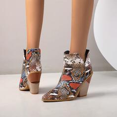 Frauen Kunstleder Stämmiger Absatz Stiefelette mit Tierdruckmuster Schuhe