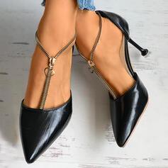Frauen PU Stöckel Absatz Spitze mit Reißverschluss Schuhe
