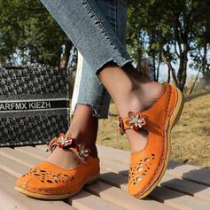 Frauen PU Keil Absatz Sandalen Plateauschuh Geschlossene Zehe Keile mit Perlstickerei Blumenmuster Schuhe