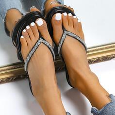 Frauen Kunstleder Flascher Absatz Sandalen Flache Schuhe Peep Toe Flip Flops Pantoffel mit Funkelnde Glitzer Einfarbig Schuhe