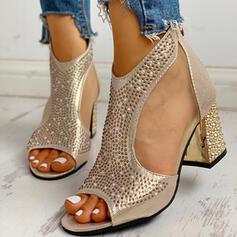 Women's PU Chunky Heel Sandals Pumps Peep Toe With Rhinestone Imitation Pearl Zipper shoes
