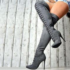 Frauen Veloursleder Stöckel Absatz Stiefel über Knie Spitze mit Reißverschluss Zuschnüren Schuhe