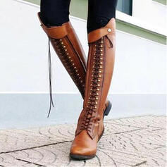 Women's Leatherette Chunky Heel Boots Riding Boots With Rivet Zipper Lace-up shoes