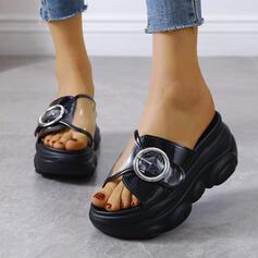 Frauen PU Flascher Absatz Sandalen Flache Schuhe Plateauschuh Peep Toe Pantoffel mit Knopf Schuhe