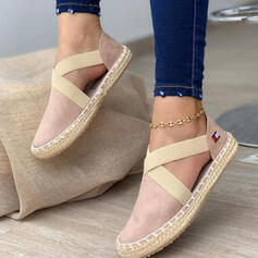 Frauen PU Flascher Absatz Flache Schuhe Low Top Round Toe Schlüpfen mit Verband Kreuz und quer Schuhe