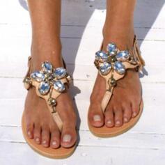 Frauen PU Flascher Absatz Sandalen Flache Schuhe Peep Toe mit Applikationen Hohl-out Schuhe