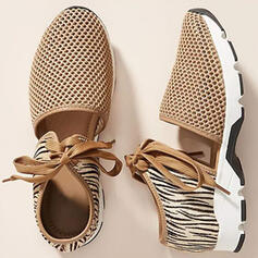 Frauen Stoff Flascher Absatz Flache Schuhe Low Top Round Toe Tanzschuhe Slipper & Slips mit Zuschnüren Hohl-out Schuhe