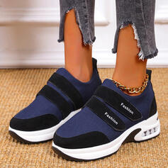 Women's Cloth Flat Heel Flats Low Top Round Toe Sneakers With Velcro Splice Color shoes