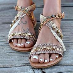 Frauen Kunstleder Stoff Flascher Absatz Sandalen mit Andere Schuhe