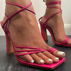 Women's PU Chunky Heel Sandals Pumps Peep Toe Toe Ring Heels With Hollow-out Solid Color shoes