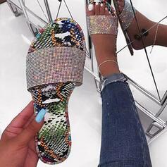 Frauen PU Flascher Absatz Sandalen Pantoffel mit Funkelnde Glitzer Schuhe