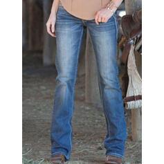 Shirred Übergröße Elegant Einfach Denim Jeans
